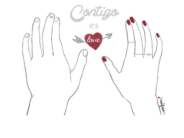Lámina contigo es love -San Valentín