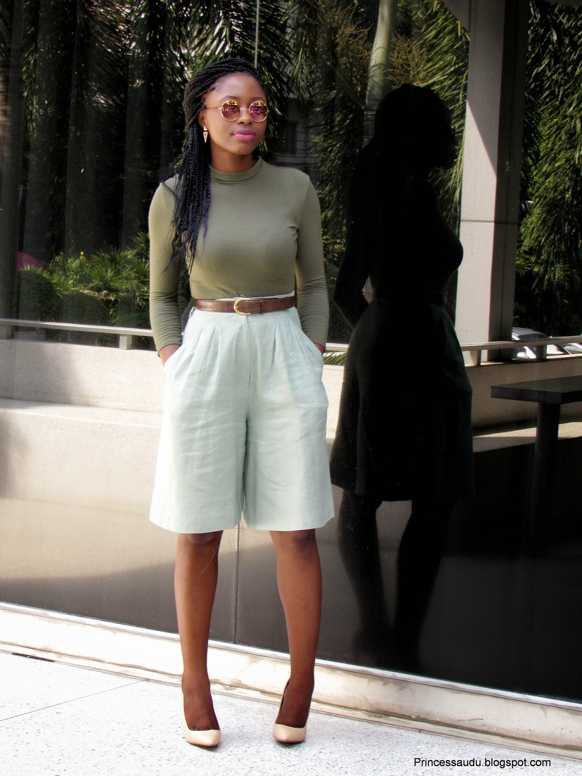 Khaki, culottes, nude pumps, turtleneck tops