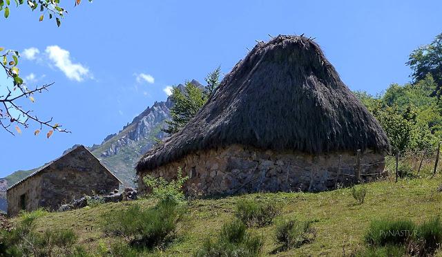 Teito - construcción típica con techo vegetal - Somiedo