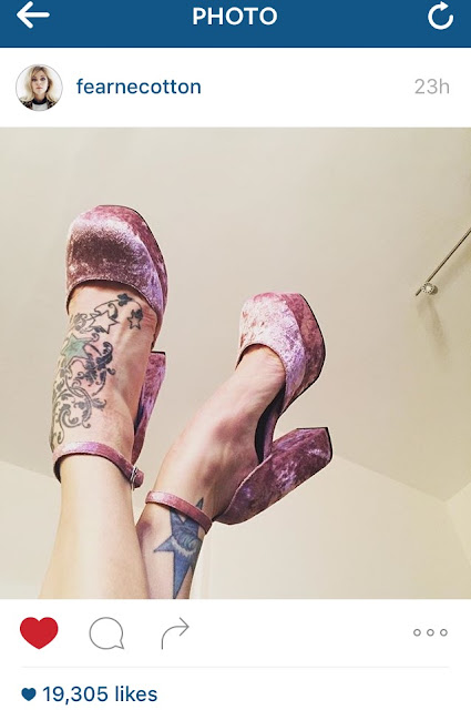 Fearne Cotton Instagram photo of Pablo heels in dusky pink velvet
