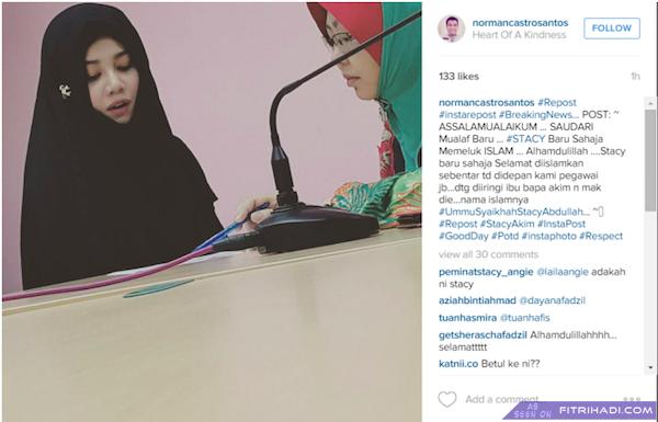Hiburan Stacy AF Memeluk Agama Islam