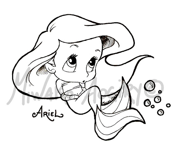 Baby Ariel Coloring Pages