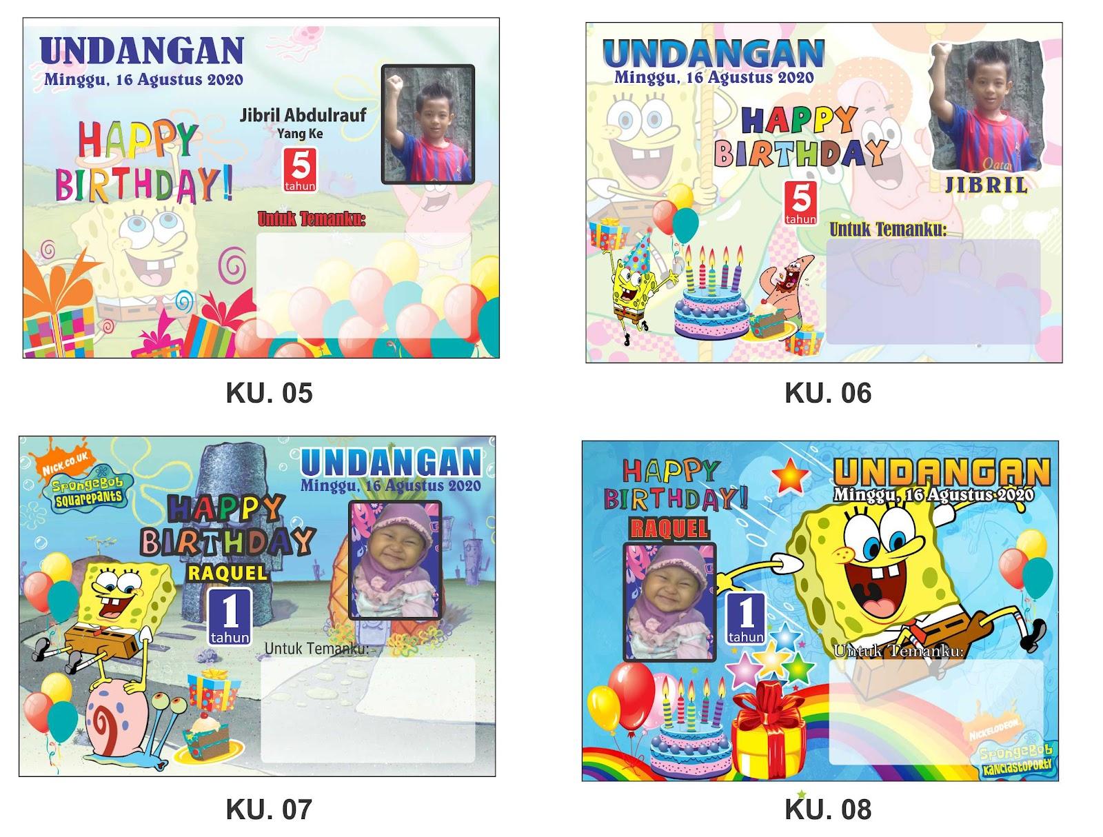 Kartu Undangan Ulang Tahun Anak Seri Spongebob