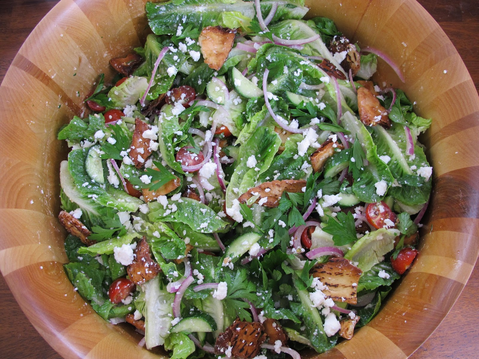 AOC Cookbook Fattoush Salad with Crispy Pita Chips and Creamy Lemon Dressing
