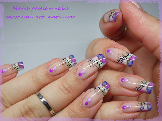 Nail Art Water décals french violette2