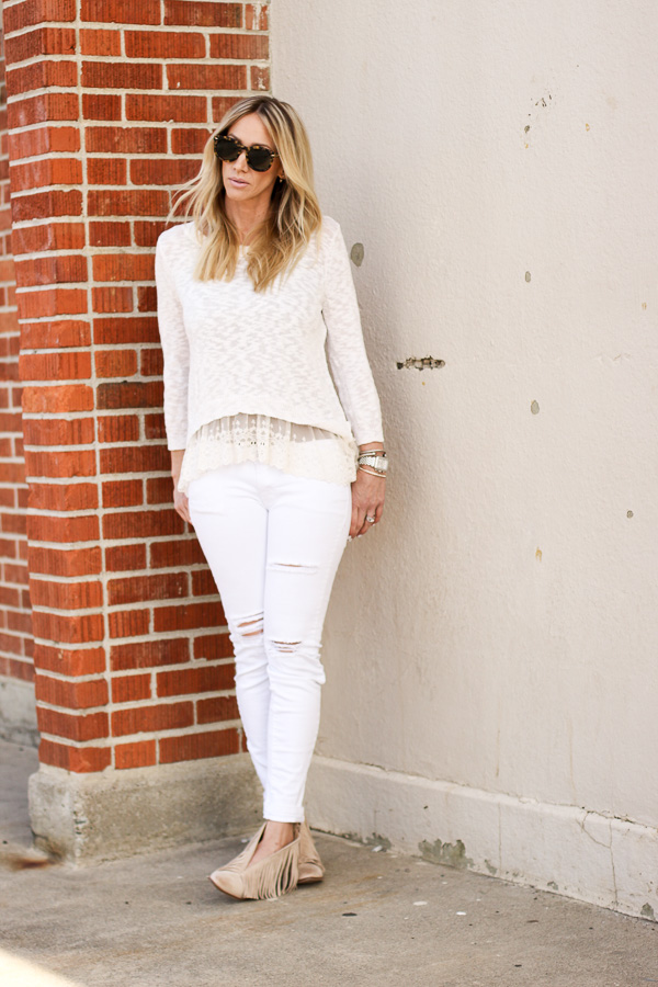 lace tank layered sweater white ripped denim
