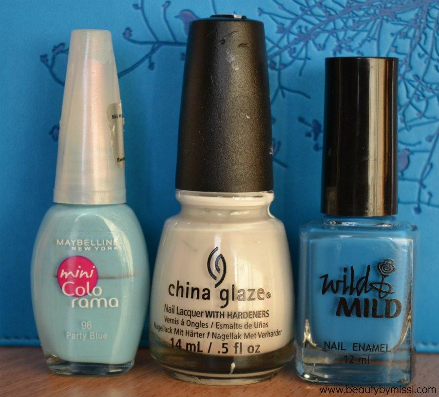 Maybelline mini Colorama Party Blue,  China Glaze White on White, Wild & Mild Blue Nun