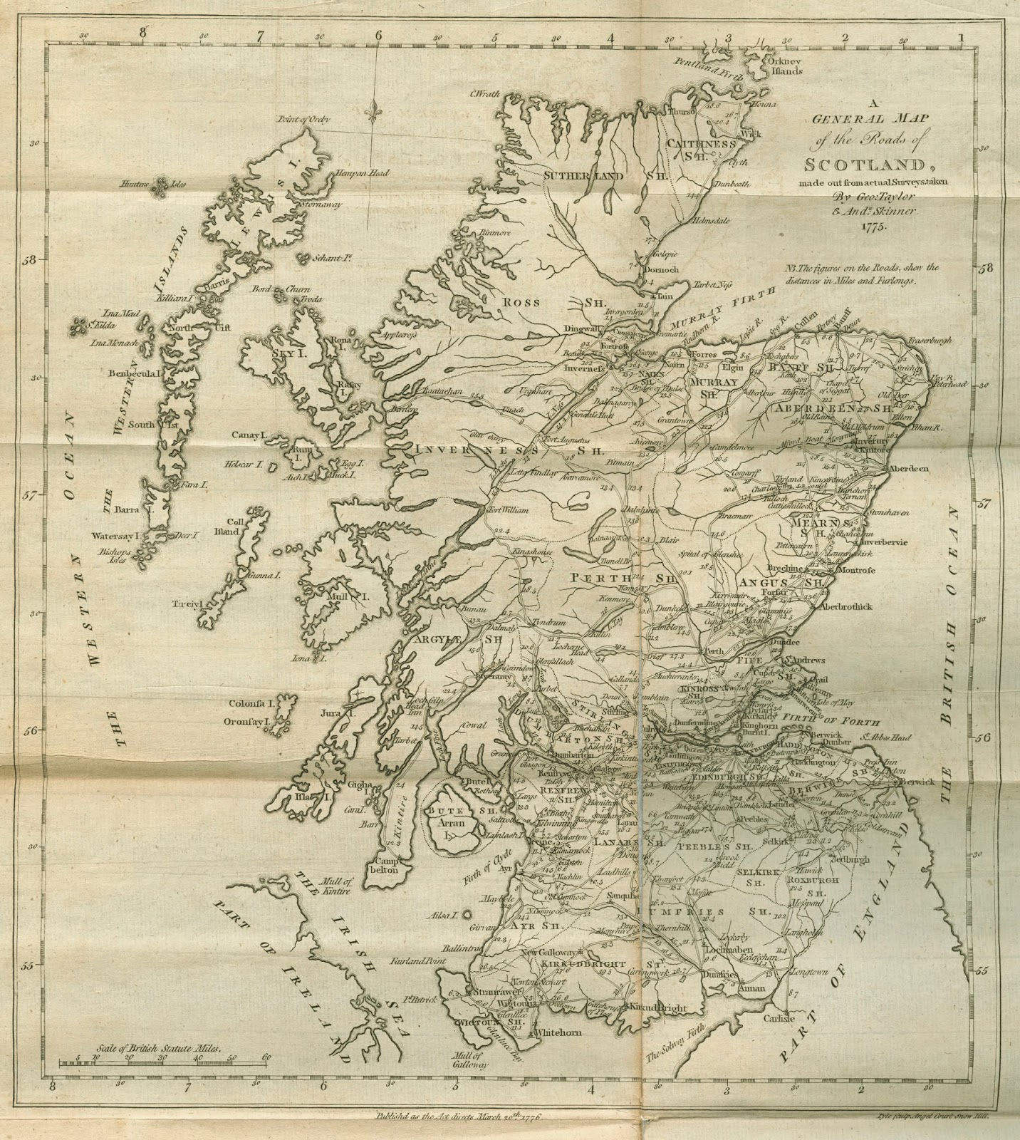 to see our copy of taylor and skinner s survey of the roads of north britain or scotland walk into rauner and ask to see rare g1826 p2 t3 1776