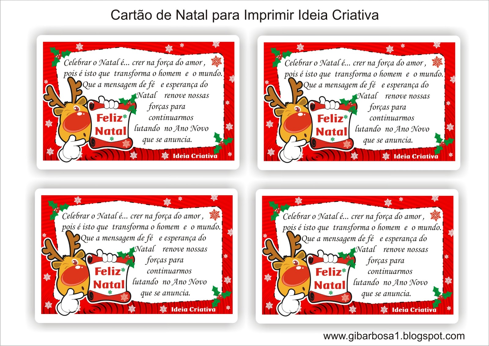 Suficiente Cartão de Natal para Imprimir | Ideia Criativa - Gi Barbosa  WI63