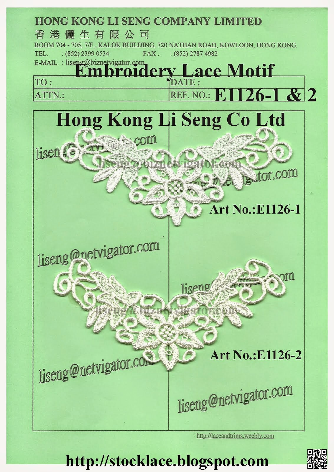 New Stock Embroidery Lace Motif Manufacturer, Wholesale and Supplier - Hong Kong Li Seng Co Ltd