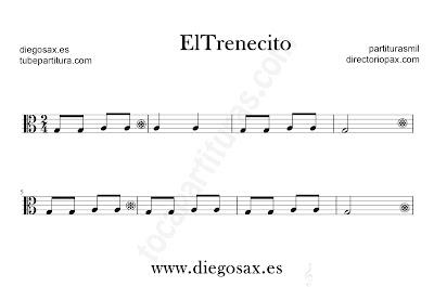 El trenecito partitura para viola en clave de Do