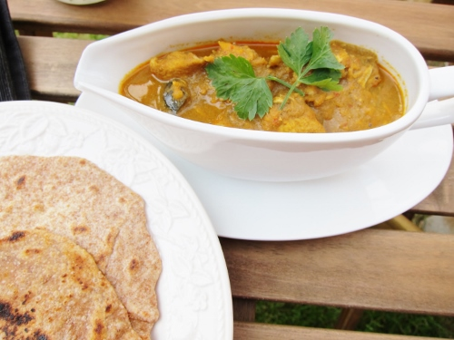 alt=Chapatis and Malaysian Chicken Curry