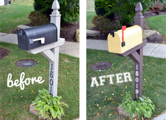 Yellow Mailbox Makeover Before and After