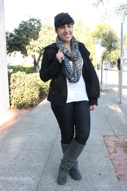 Tall Grey Boots Fall Outfit