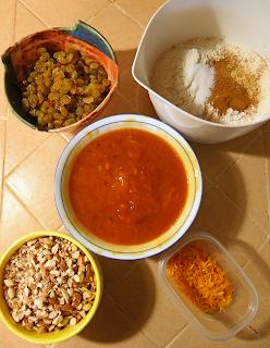 Persimmons, Dry Ingredients, Raisins & Almonds, Orange Peel