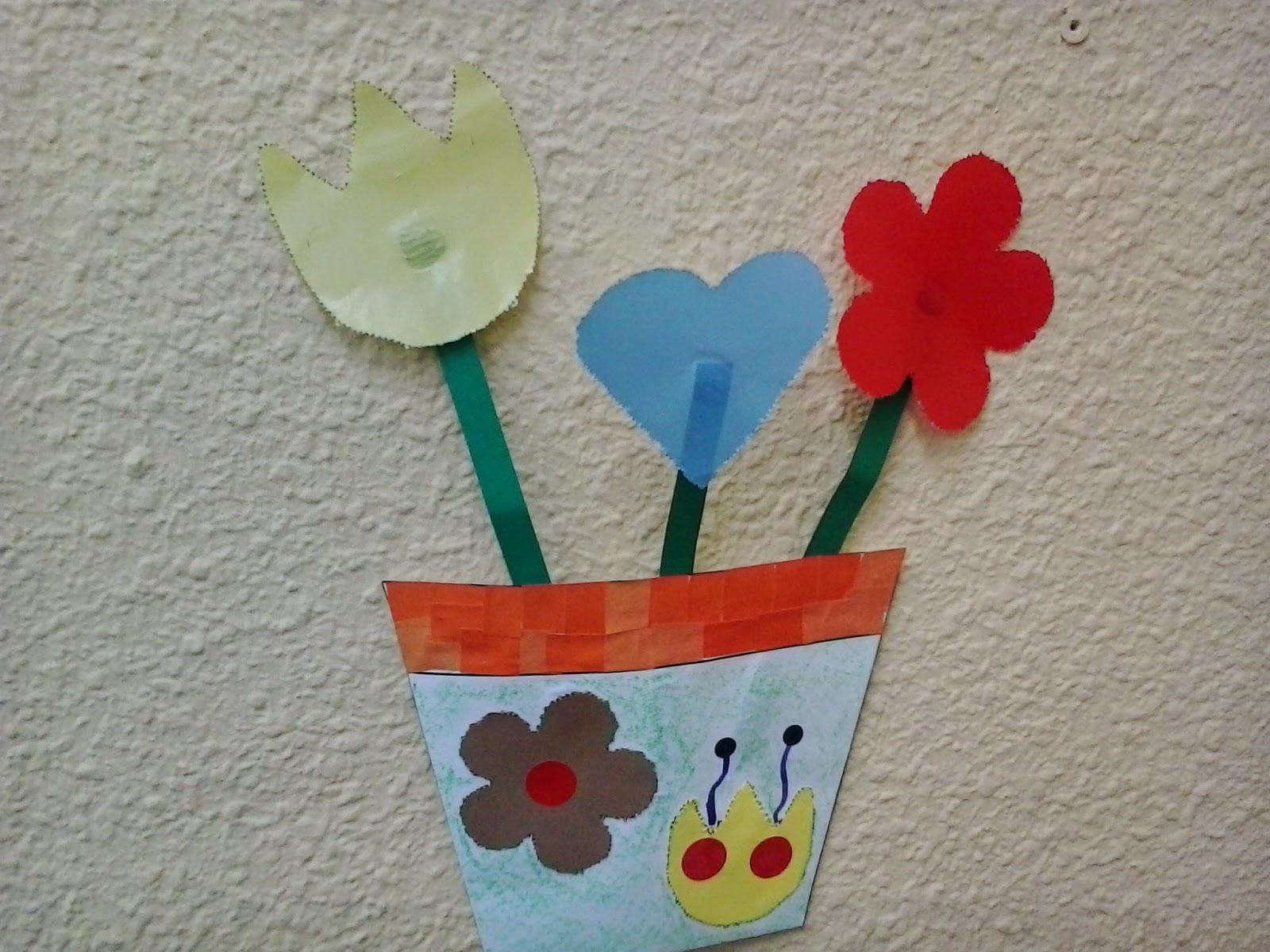 Infantil tambi n lee manualidad maceta de primavera - Papel infantil para pared ...
