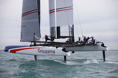 L'AC45 de Groupama Team France à l'entraînement