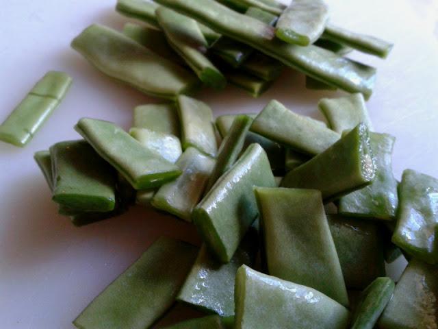 Judías verdes cortadas en trozos