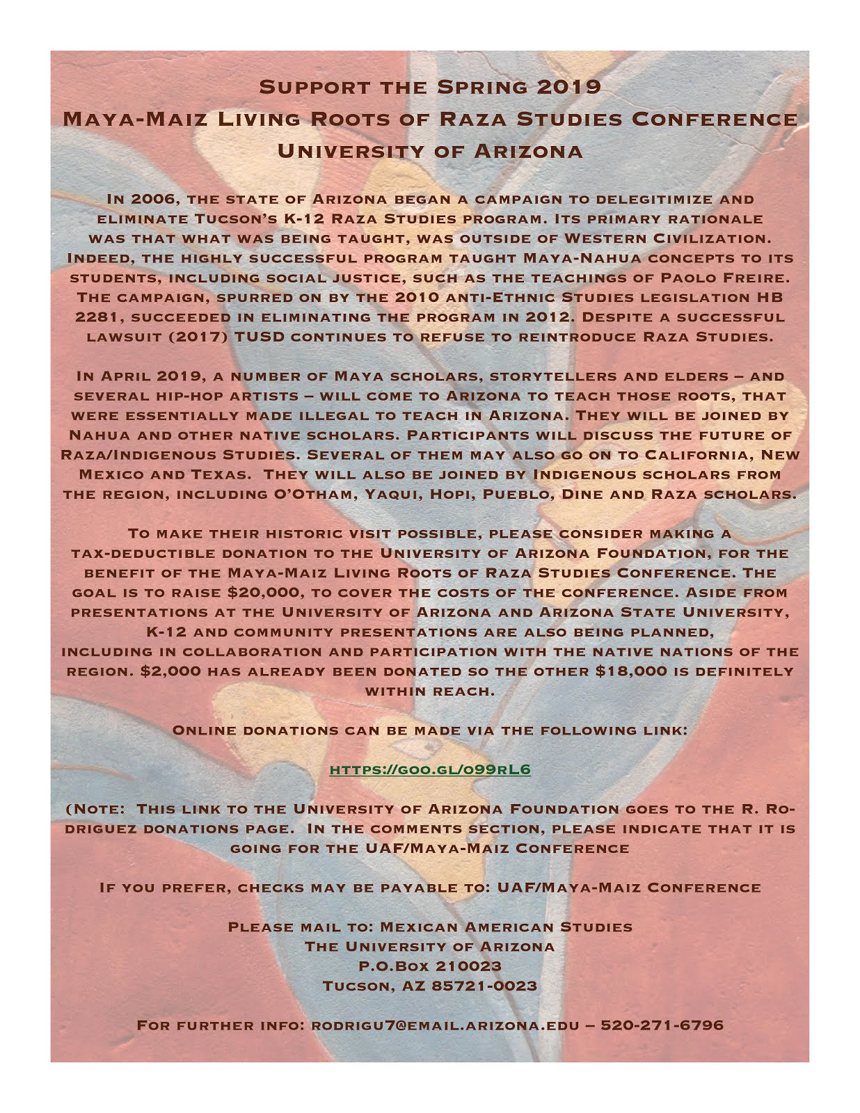 please support spring 2019 maya maiz living roots raza studies conference at the university of arizona this is the active link here