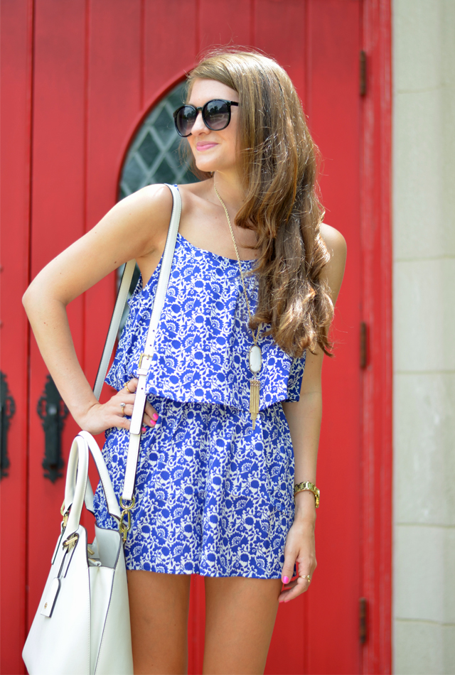 Blue and white romper for Summer