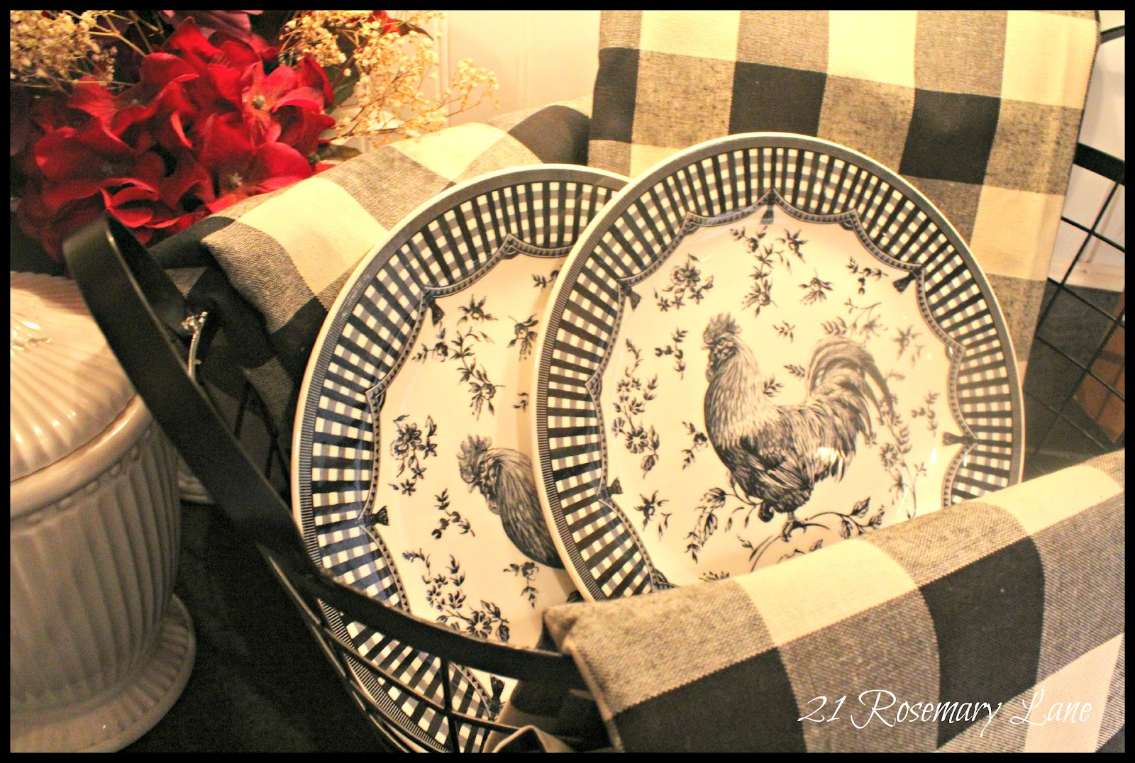 Black and white checked curtains - A Few New Items For My Kitchen Black And White Buffalo Check