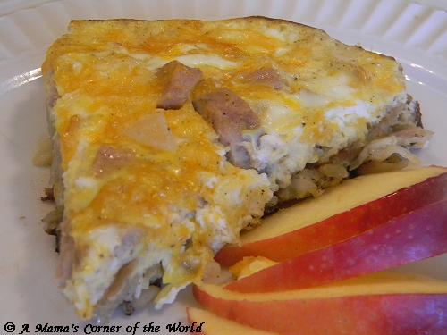 Apple Sausage Egg and Cheddar Frittata ~ A Mama's Corner of the World