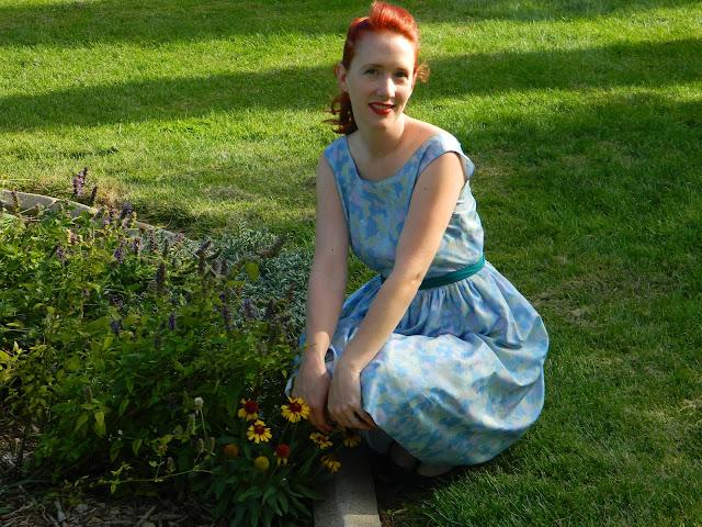 1950s watercolor L'aiglon dress matching jacket vintage Just Peachy, Darling