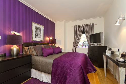 Purple Bedroom Decor Ideas With Grey Wall And White Accent Home Interior And Decoration