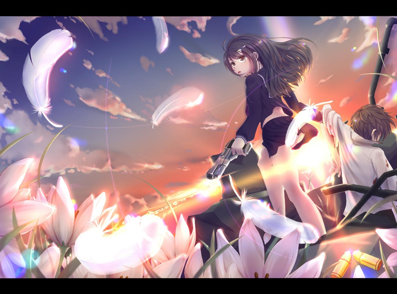 hwfd - anime girl flowers and sunset desktop background (1366 x 1010