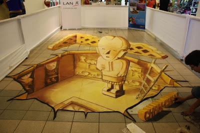 César Paredes peru artist - 3d sidewalk chalk artist