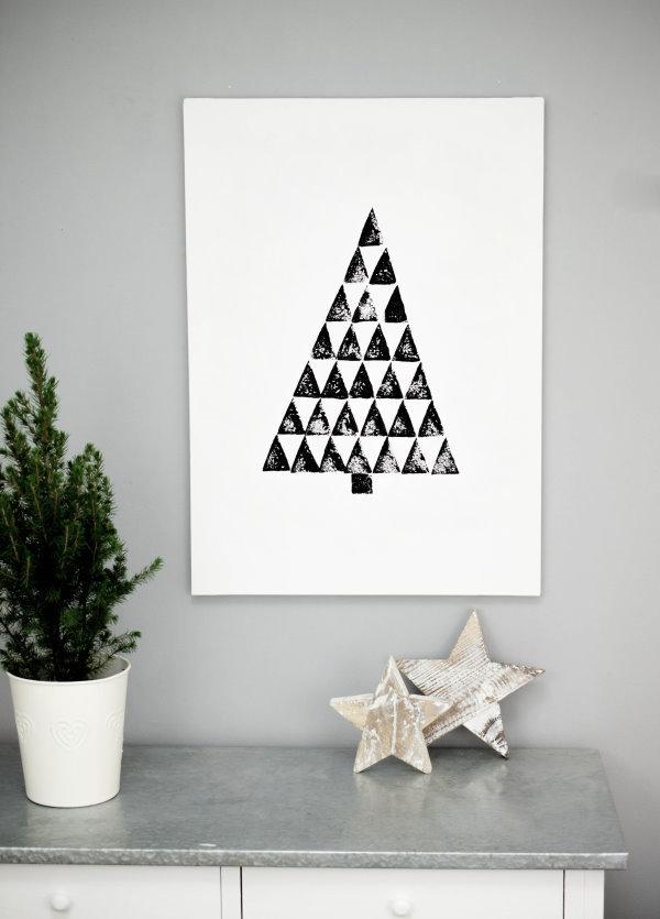 Selbstgemachtes Wandbild für Weihnachten