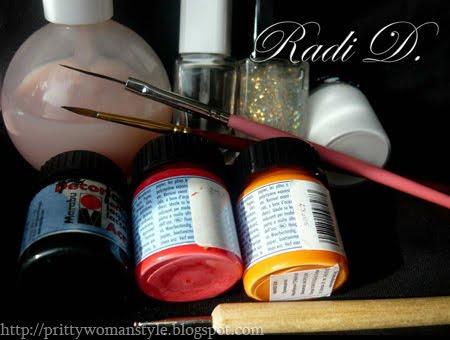 лак за нокти, акрилна боя и инструменти