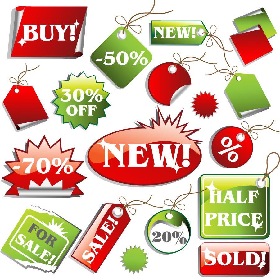 スーパーマーケットの割引き商品タグ supermarket price tag vector イラスト素材