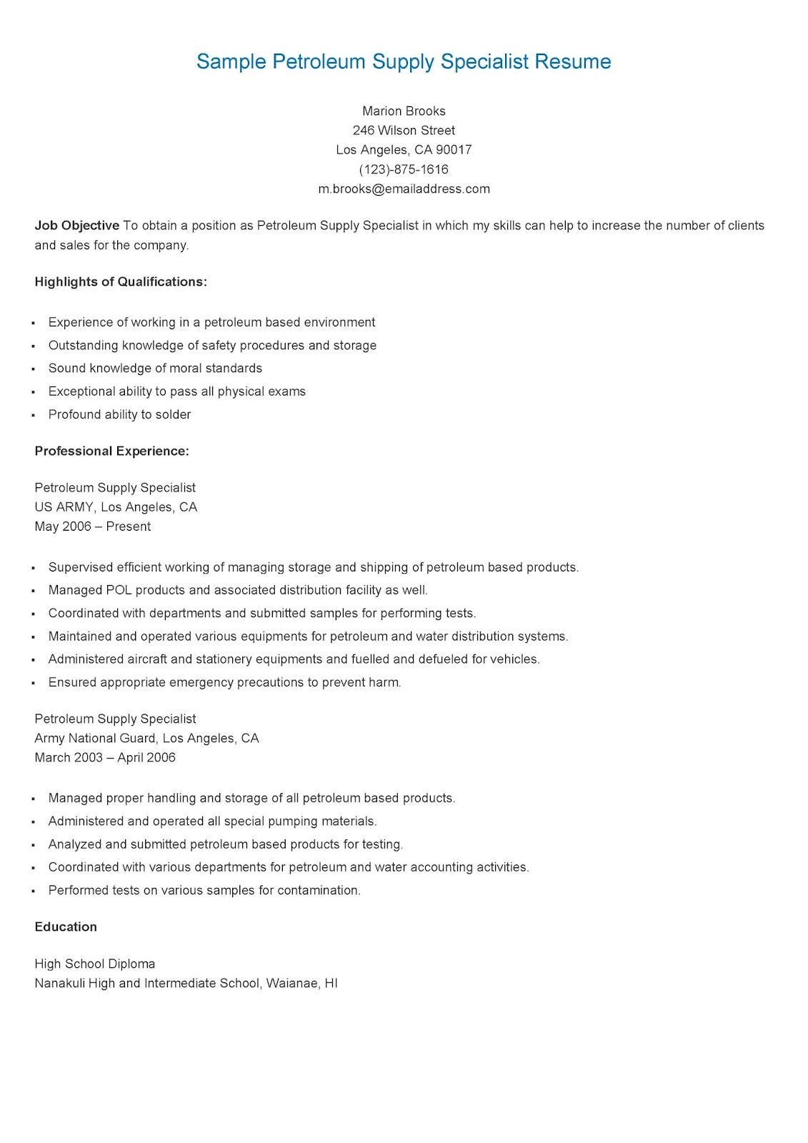 resume sles sle petroleum supply specialist resume