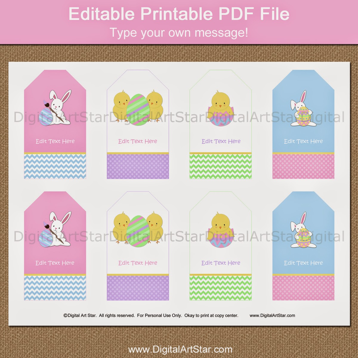 Easter hang tags with editable text