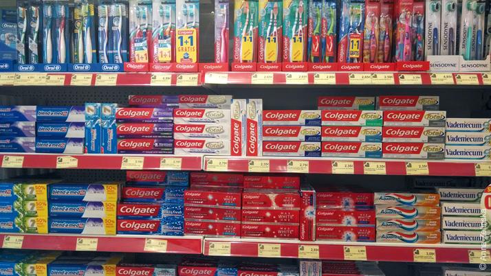 Цены на зубные пасты и щетки в Черногории