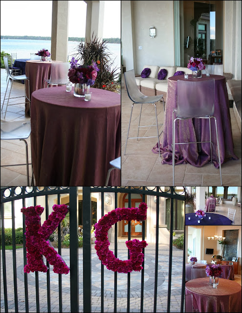 Isha Foss Events purple luxury engagement party design with monogram