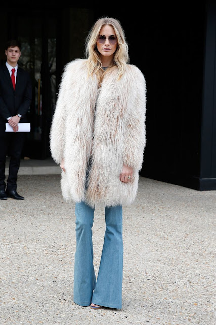 Poppy Delevigne in faux fur #streetstyle