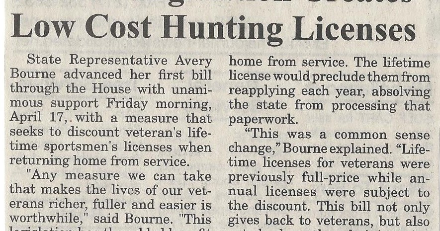 Illinois state representative avery bourne bourne for Fishing license illinois