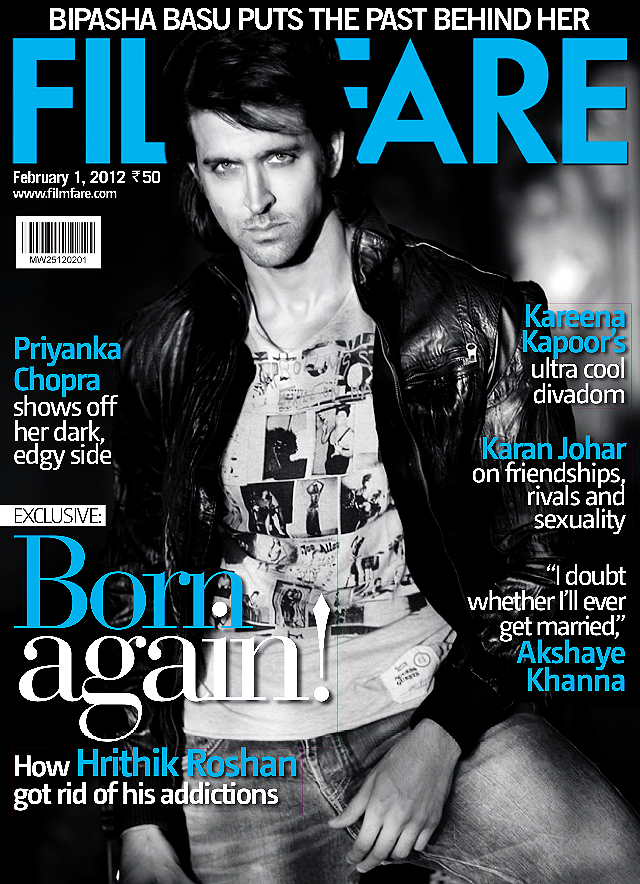 	Hrithik Roshan Filmfare 2012 Cover1 - 	Hrithik Roshan on the cover of Filmfare Magazine February 1st 2012