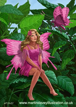 Pink pretty Fairy on leaf with pink Butterfly-digital painting