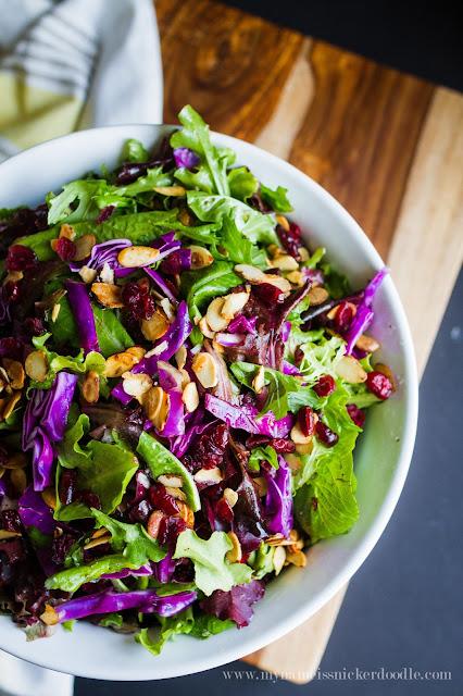 Gorgous salad!  Spinach Almond Salad recipe looks divine!  |  mynameissnickerdoodle.com