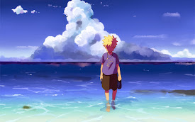 naruto uzumaki walking in beach hd wallpaper