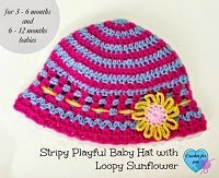 Loopy Flower Baby Hat Crochet Pattern Sunday Night Link Blast ~A Mix Of Fun Crochet Patterns http://www.niftynnifer.com/2014/12/sunday-night-link-blast-mix-of-fun.html #LinkBlast #Crochet #CrochetRoundUp