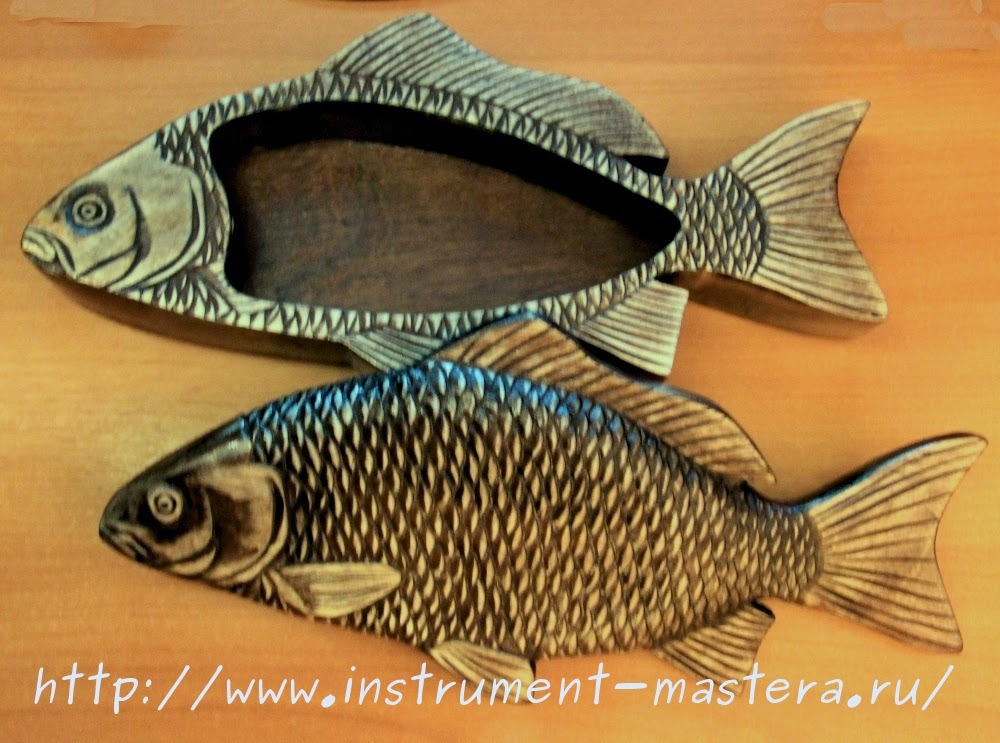 Деревянная резная шкатулка в виде рыбы - отличный подарок рыбаку-любителю