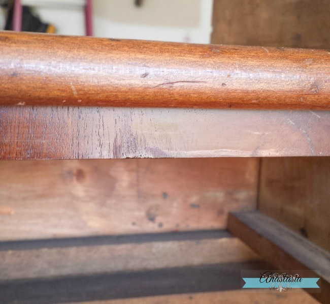 missing wood veneer furniture patched repaired wood filler stain