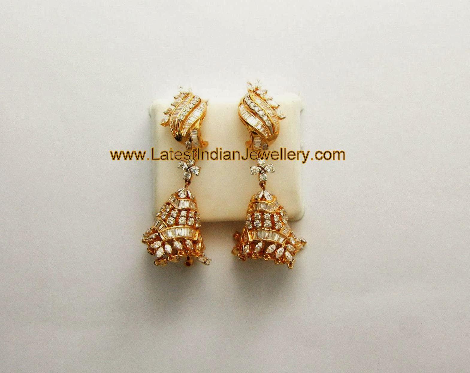 Cute Designer Diamond Jhumkis