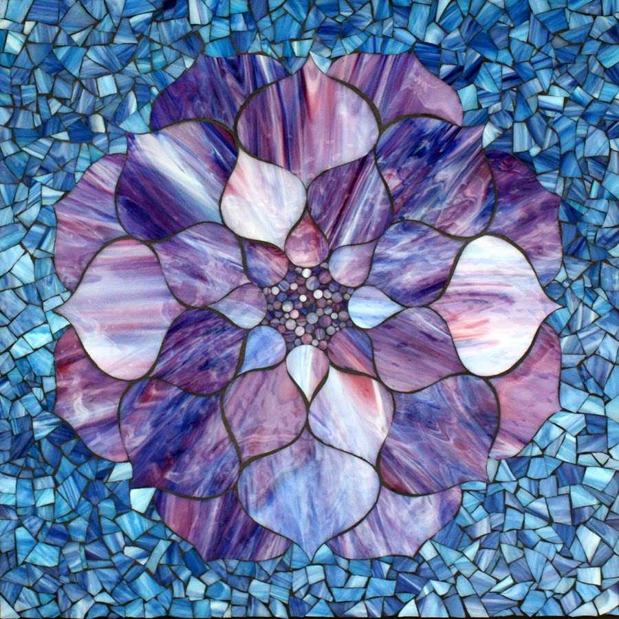 Kasia mosaics purple lotus flower on blue stained glass mosaic 22 x 22 23 x 23 framed 2014 950 available for sale httpkasiamosaicsstorespot izmirmasajfo