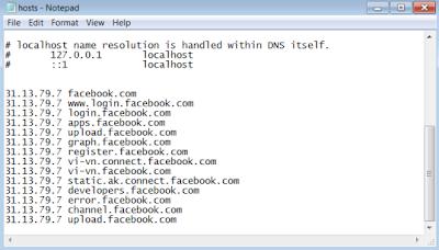 cách vào facebook khi bị chặn bằng cách sửa file host