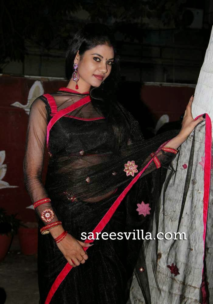 Nivisha In Black Net Saree